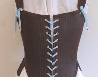Renaissance  Elizabethan Corset Stays Silk Satin Effigy Corset for Period Costume LARP Historical Reenactment