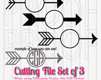 Monogram SVG Files Set of 3 SVG PNG jpg files included. Commercial use ok! Great for circle monogram! Arrow monogram svg cut files