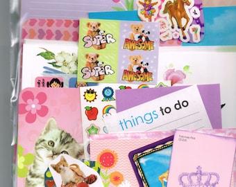 Cute Girly Random Snail Mail Kit, pen pal, happy scrapbook, planner starter grab bag set- writing paper, envelopes, stickers, teen girl gift