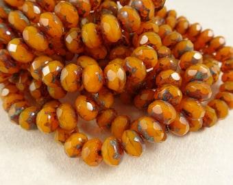 Czech Beads, 8x6mm Rondelle, Czech Glass Beads - Pumpkin Orange Beads (R8/RJ-1917) - Qty 12