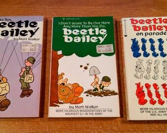 Lot of Three Vintage Beetle Bailey Paperbacks by Mort Walker, 1970-75.
