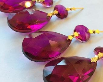 ONE Magenta Teardrop Chandelier Crystals 38mm Prism Shabby Chic Hot Pink Almond