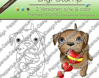 Digi stamp set dog with heart / E0010