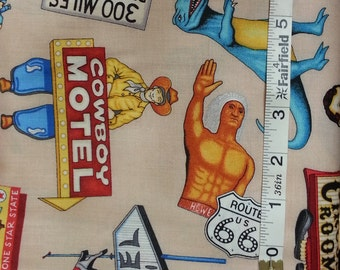 100% cotton Quilting fabric by the 1/2 yard route 66 travel vacation tee pee roadside attractions motel ufo