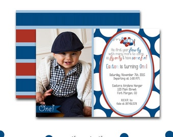 Airplane Birthday Invitation, Photo Invitation, Time Flies First Birthday, Airplane Invite, Boys, Red and Blue - Printable or Printed