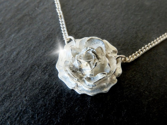 Silver Rose Necklace, Silver Rose Pendant, Roses Necklace, Rose Jewellery, Mothers Day Gift, Wedding Jewellery, Necklace for Bride