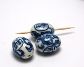 Handpainted oval porcelain beads 22mm x 18mm Vintage 18 count