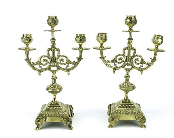 Pair 19th Century Antique Brass Candlesticks - 3 Arm Gold Gilt French Ornate Footed Candleholders Victorian Wedding Bronze Hollywood Regency
