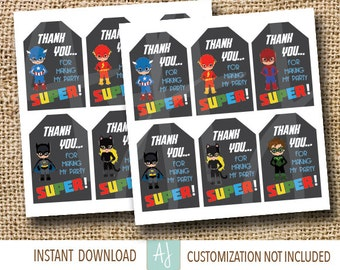 Super Hero Thank You Tags- Birthday Party Decorations- Customization NOT included- Instant Download