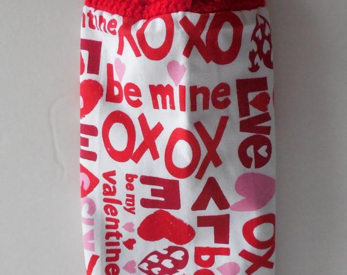 Be Mine Kitchen Hanging Towel -  Red Crochet Top - Love Kitchen Towel - XOXO - Handmade Crochet - Ready to Ship
