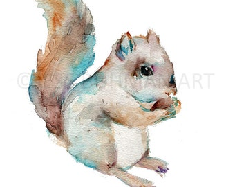 Squirrel Watercolor Painting Print, Squirrel Painting, Watercolor Animal, Watercolor Print of Animal, Nursery Art, Woodland Art, Animal Art