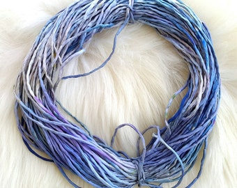 Hand dyed Silk Cords  - 2mm in blue grey beige silk string 45 meters