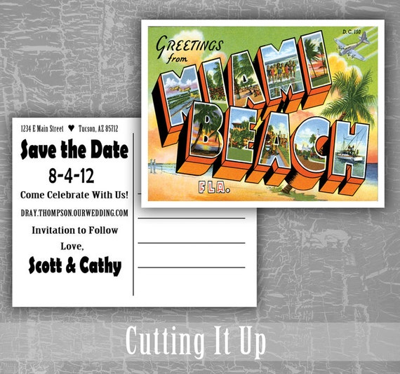 greetings from save the date postcards miami florida colorado