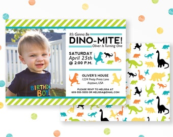 Dinosaur Photo Invitation, Dinomite Birthday, Dino Birthday Invite, Photo Invitation, Dinosaur Boys Birthday, Printable Invite, #40