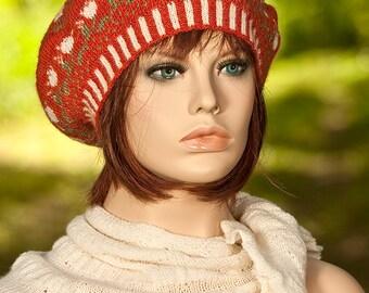 Hand knitted fair isle beret, fair isle tam, jacquard beret, motifs of roses, rust, green, white, women, woolen beret, woolen hat.