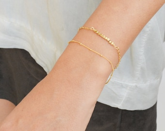 gold filled bracelet,dainty bracelet,gold bracelet,minimalist bracelet,satellite chain,tiny bracelet,delicate jewelry -21012