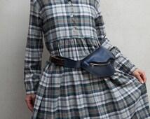 faux leather 90s vintage waist wallet/ navy belt bag unisex item/ waist pack pouch