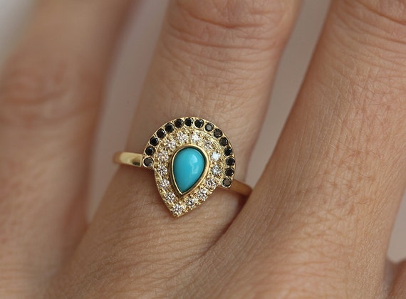 turquoise and diamond wedding ring turquoise engagement ring bohemian engagement ring boho 8114