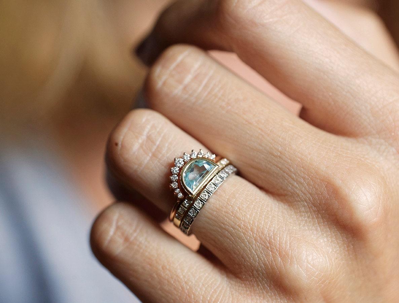 Aquamarine Ring Half Moon Aquamarine Ring Crescent Ring