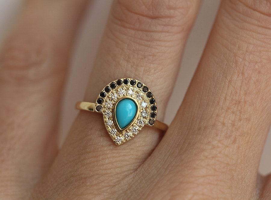 turquoise engagement ring bohemian engagement ring boho engagement ring pear engagement ring - Bohemian Wedding Rings