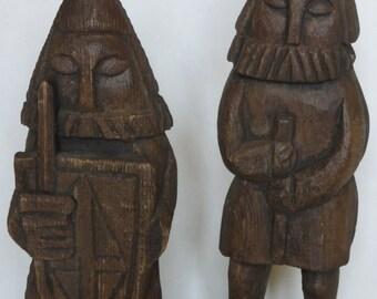 Viking / Crusader Carved Wood - Look Figurines / Wall hangings Set Of Two