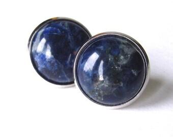 SODALITE Stud Earrings-Sodalite Earrings, Post Earrings, Blue Earrings, Denim Earrings, Minimalist, Studs, Blue Jeans Earrings, Gemstone