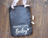 Pregnancy Countdown Chalkboard Sign, Maternity Photo Prop, Weeks Until Baby, New Mom Gift
