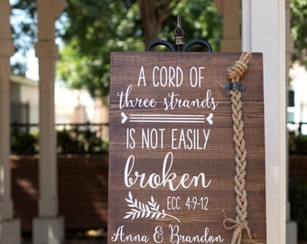 A cord of three strands is not easily broken. Ecc 4:9-12