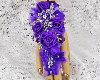Silver&Purple Wrist Corsage Wedding Corsage-Prom Corsage-Prom-Brooch Corsage-Bridal Corsage-Brides Corsage-Fabric Corsage-Jewelry Bracelet
