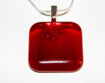 Wine Nail Polish Square Glass Pendant with Necklace
