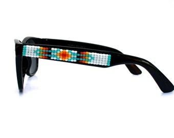 Children's Sunglasses, Beaded Sunglasses, White Navajo-Inspired Sunglasses, Wayfarer Sunglasses, Ray Ban Style, Kids Sunglasses, Child Gift