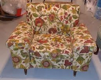BEFORE FRAME - Upholstered Vintage Mid Century Chair -Vintage large club chair -Available for Custom Order