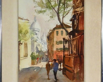 Superb ca.1945 Impressionist Paris Montmartre Watercolor w/Frame Listed Artist