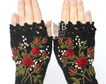 Knitted Fingerless Gloves, Roses, Clothing And Accessories, Gloves & Mittens, Gift Ideas, For Her