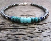 amazonite turquoise bracelet, amazonite bracelet, lapis lazuli bracelet, boho bracelet, bead stack bracelet, layer bracelet, chakra bracelet