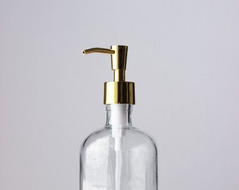 Recycled Glass Soap Dispenser with Shiny Gold Metal Pump