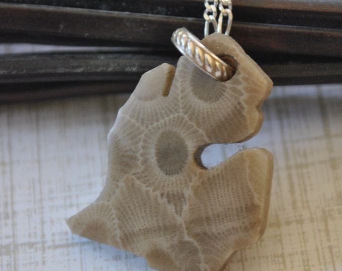 Petoskey stone Michigan charm necklace,  Michigan necklace, Up North necklace