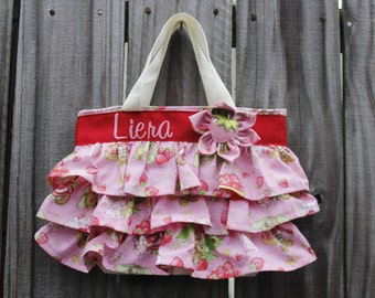 NEW Vintage Strawberry Shortcake Sunshine Birthday Party Bag, Ruffled Canvas Tote, Little Girl Purse, Diaper Bag Accessory