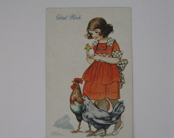 Easter Vintage Post Card - Glad Pask - Happy Easter - Artist Signed, Hildur Soderberg - Girl with Chickens - Used - 1924