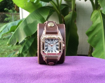 Women's Brown  Leather Cuff Watch with a Rose Gold Watchface