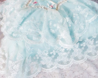 Absolutely Gorgeous Vintage Tambour Lace Wedding, Ring Bearers Pillow, Snow White and Robin's Egg Blue, Accent, Boudoir