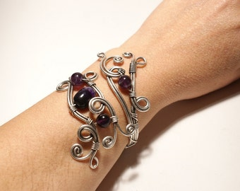 Amethyst Cuff Bracelet, Amethyst Bracelet, Amethyst Jewellery, Wire Wrapped Jewelry Handmade, Adjustable Bracelet, Silver Bracelet