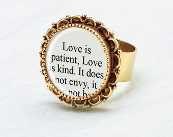 Love is Patient Love is Kind, 1 Corinthians 13 Ring - Bible Verse Jewelry, Weddings, Anniversary Gift, Bridesmaid Jewelry, Christian Jewelry