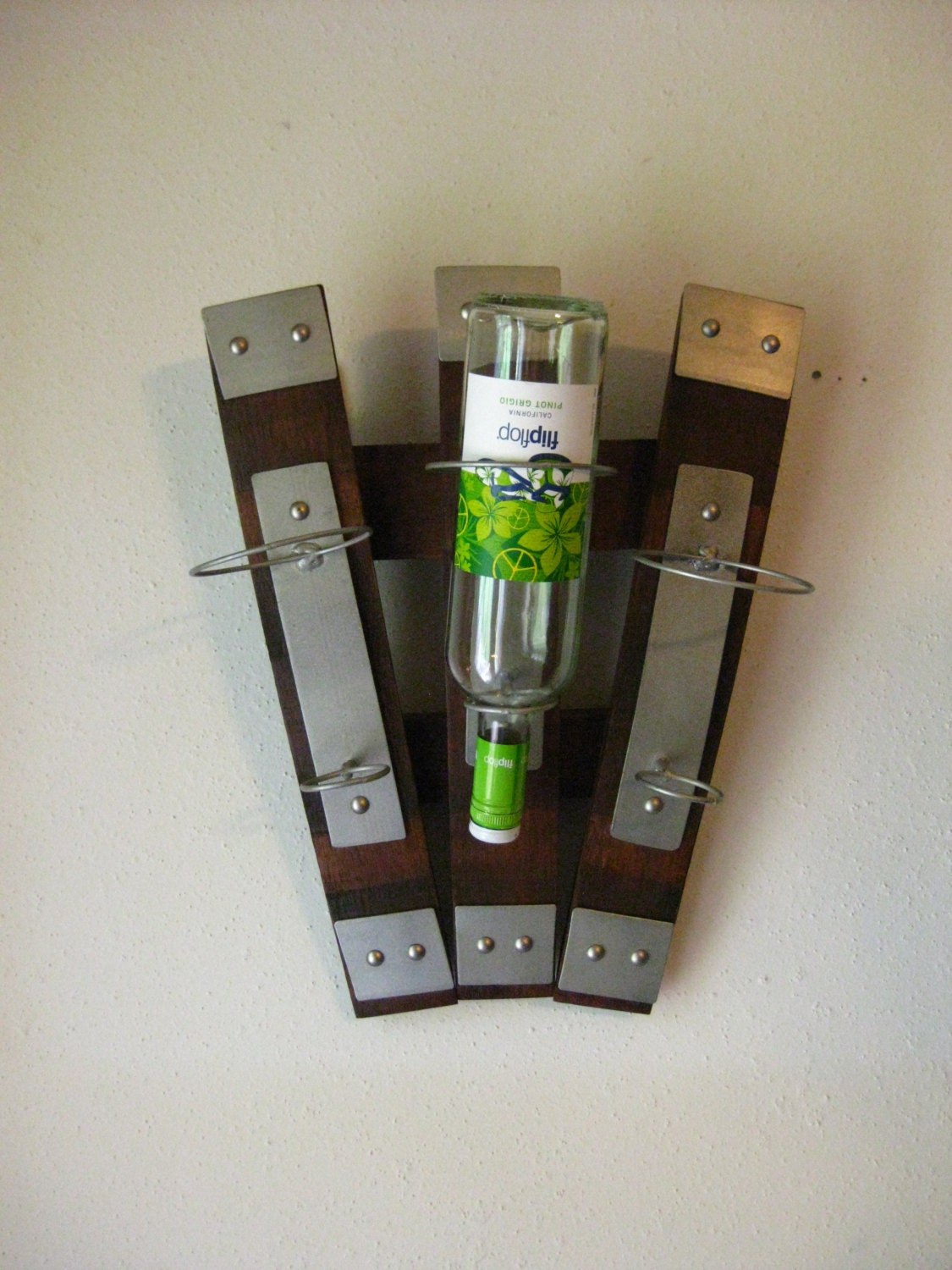 Wine barrel fan shaped wine rack - Wine rack shaped like wine bottle ...