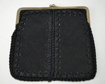 black leather purse hand made .vendimia case