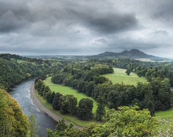 Scotland Landscape Photography, Wild River, Scott's View 12 x 8 inches, white mounted print