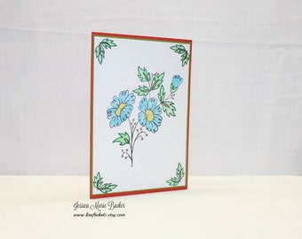 Floral Card, Any Occasion Greeting Card, Blank Inside, Red Green Blue Yellow