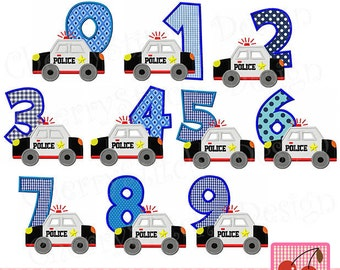 Police Car Birthday numbers set machine embroidery applique  -4x4 5x5 6x6 inch