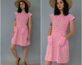 1950s 60s pink and white gingham cotton wrap dress