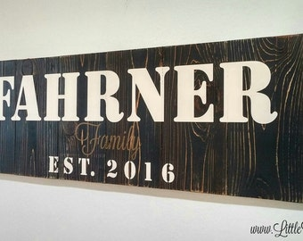 Wood Anniversary Gift, Family Name Sign, Rustic Wood Sign, Personalized Last Name, Rustic Wall Decor, Custom Anniversary Gifts for Couples
